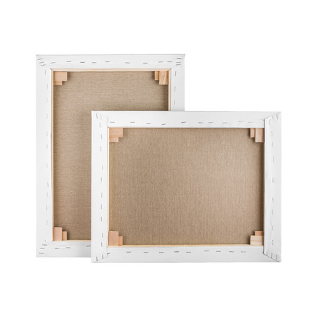side bar: Gallery wrapped blank canvas on wooden frame - stretcher bar frames back side isolated on white Stock Photo