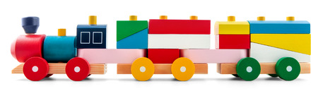Wooden toy train with colorful blocs isolated over white Standard-Bild