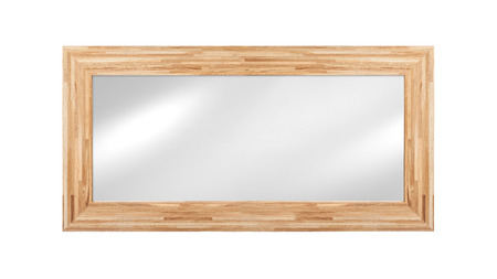 mirror frame: Mirror in wooden frame - isolated on white