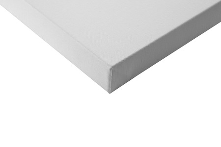 side bar: Gallery wrapped blank canvas on wooden frame detail - stretcher bar frames back side isolated on white