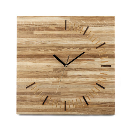 wall watch: Simple wooden wall watch - Square clock isolated on white background