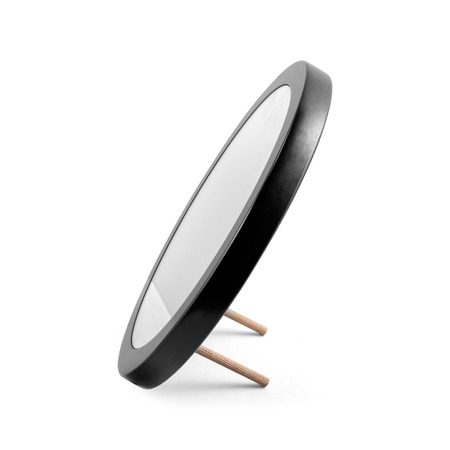 mirror frame: Rounded mirror in black wooden frame - isolated on white Stock Photo