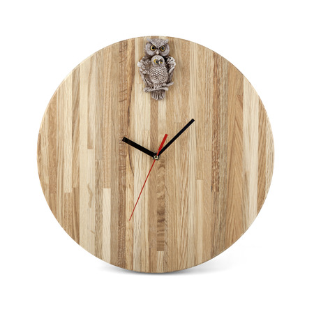 wall watch: Wooden round wall watch with owl toy - clock isolated on white background Stock Photo