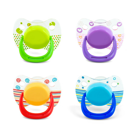 nipple: Latex pacifier with transparent protective plastic cap isolated on white with path Stock Photo