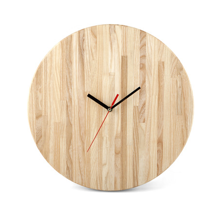 wall watch: Wooden round wall watch - clock isolated on white background