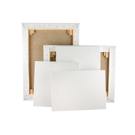 Gallery wrapped blank canvas on wooden frame - stretcher bar frames back and front side isolated on white