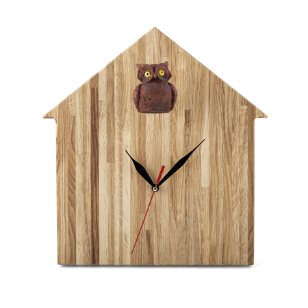 wall watch: Wooden wall watch - Owl clock isolated on white background