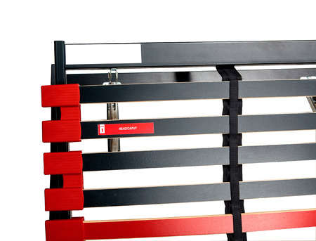 bed frame: Assembling bed slats for latoflex - Bed frame and mattress base surface Stock Photo