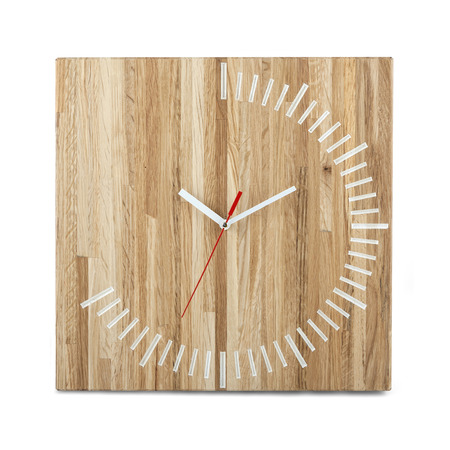 wall watch: Simple wooden wall watch - clock isolated on white background
