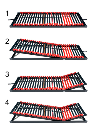 Adjustable bed slats for latoflex - Bed frame and mattress base surface with path