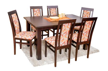 silla de madera: Mesa de comedor y sillas aislados en blanco