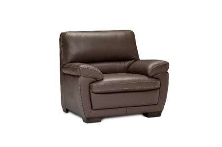 loveseat: Luxury leather brown armchair isolated on white background