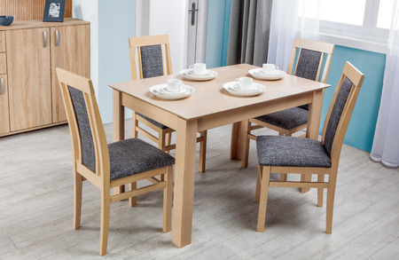 dinning: Simple wooden dinning table and chairs in interior
