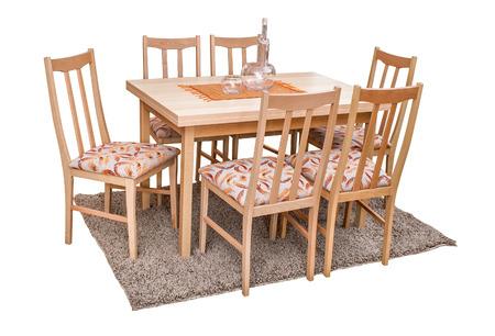 Eettafel en stoelen op wit wordt geïsoleerd royalty vrije foto