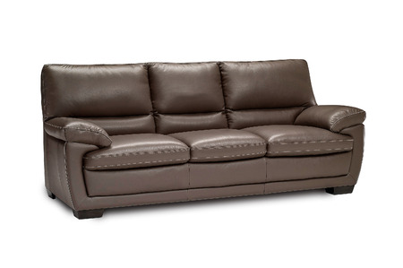 Luxury leather brown sofa isolated on white background