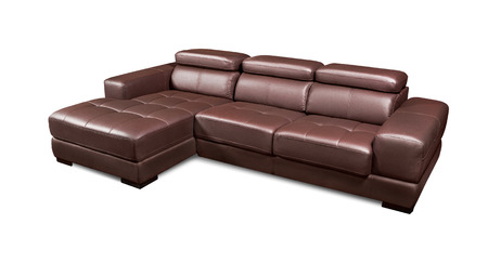 home corner: Luxury leather corner brown sofa isolated on white background