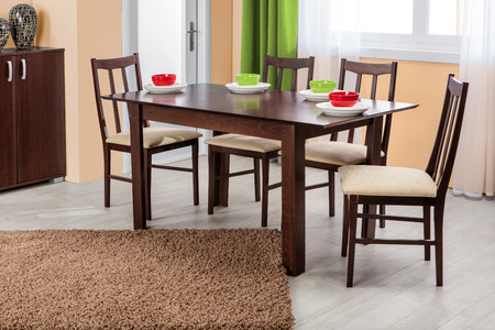 dinning table: Simple wooden dinning table and chairs in interior