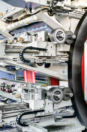 Detail of flexo drum press for label printing - flexography also called surface printing machine