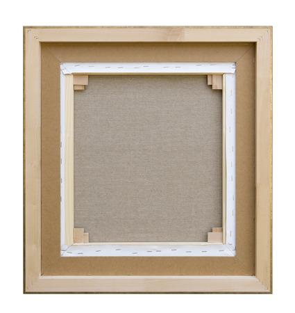 ギャラリー キャンバスに包まれた空白の背面図木造建設 - 担架バー フレーム裏面が白で隔離 写真素材