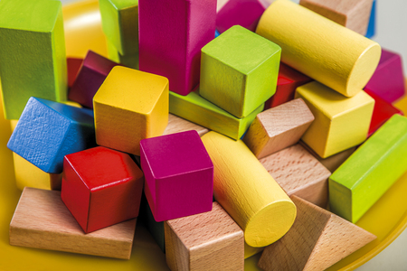 untidy: Untidy variety wooden colorful blocks