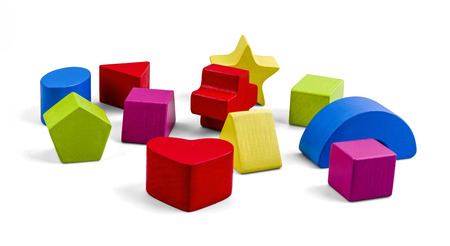 wood blocks: Wooden color toy blocks isolated on white with clipping path Stock Photo