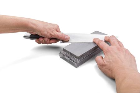 シャープニング テクニック - クリッピング パスと白で隔離ナイフ手