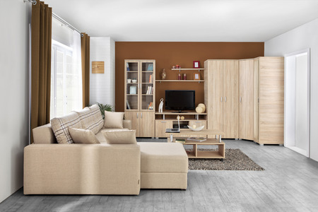 Interior of a modern living room in color