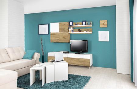 Inter von einem modernen Wohnzimmer in Farbe Standard-Bild - 52028849