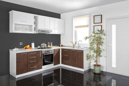 モダンなキッチン、木製家具、シンプルでクリーンなインテリア。 写真素材