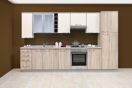 モダンなキッチン、木製家具、シンプルでクリーンです。