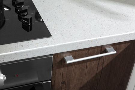 キッチンには電気コンロ オーブン詳細、玄関のドアおよびハンドルのクローズ アップの一部 写真素材