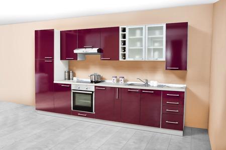 Moderne Küche, Möbel aus Holz, einfach und sauber. Standard-Bild - 51934820