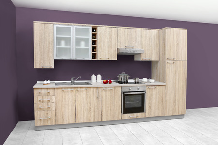 Modern kitchen, wooden furniture, simple and clean.