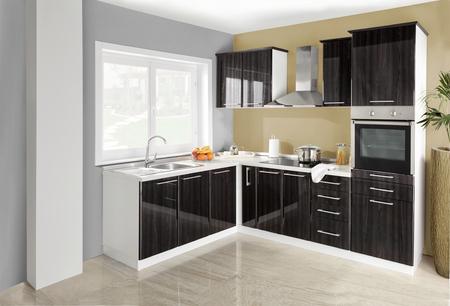 kitchen furniture: Interior of a modern kitchen, wooden furniture, simple and clean.