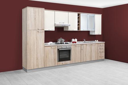 kitchen furniture: Modern kitchen, wooden furniture, simple and clean.