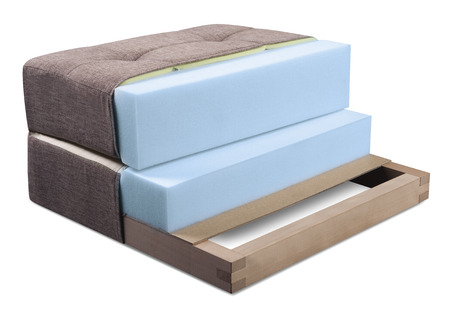 Cross section of sofa, armchair, mattress and upholstery - Open structure of furniture seat - Foam, latex and bonnell Standard-Bild