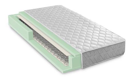 mattress: Hybrid foam latex bonnell spring mattress cross section - hi quality and modern Stock Photo