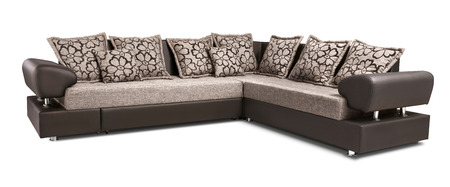 Upholstery sofa corner set with pillows isolated on white background with clipping path 写真素材