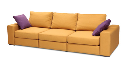 sofa set: Upholstery sofa set with pillows isolated on white background with clipping path Stock Photo