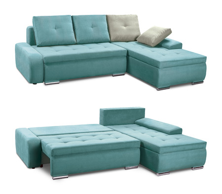 Upholstery sofa corner set with pillows isolated on white background with clipping path Standard-Bild