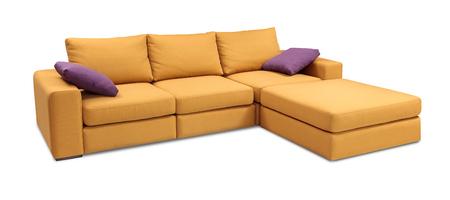 張りソファ コーナー、クリッピング パスと白い背景で隔離の枕セット 写真素材 - 52107650