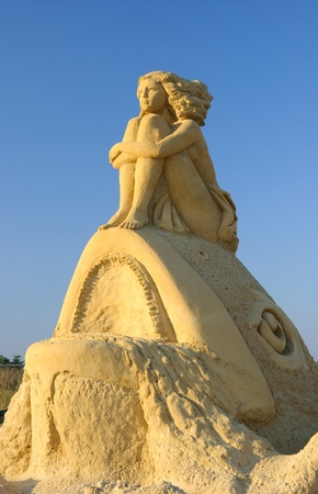 bulgaria girl: Statue of a girl on the top of a fish - Sand statues exhibition in Burgas, Bulgaria