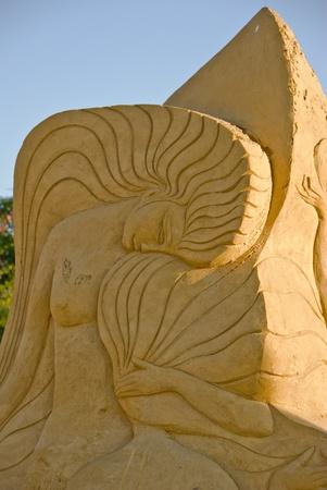 bulgaria girl: Sand girl statue - Sand statues exhibition in Burgas, Bulgaria