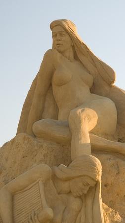 bulgaria girl: sea girl statue - Sand statues exhibition in Burgas, Bulgaria