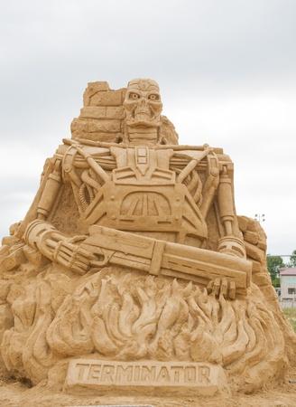 terminator: BURGAS, BULGARIA - JULY 2011:The Terminator on the Sand Sculptures festival in Burgas.The participants are from eight countries: Russia, Ukraine, Latvia, Poland, Bulgaria, Czech Republic, Australia.
