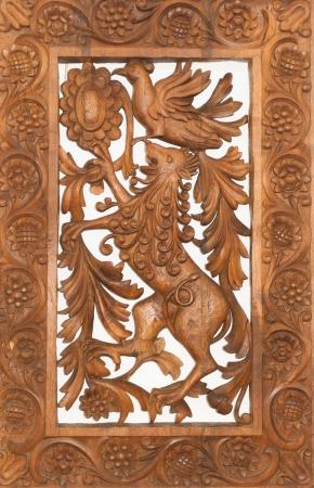 tallado en madera: Tallado en madera decoraci�n de Bulgaria, Troyan, Oreshak Foto de archivo