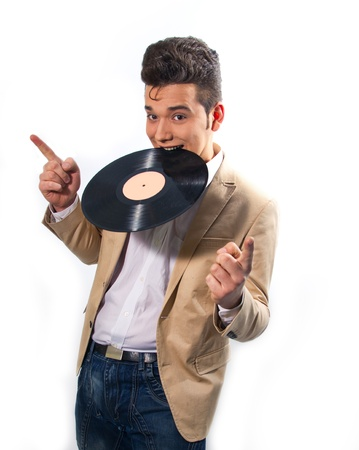 Stylish man biting a disc Stock Photo