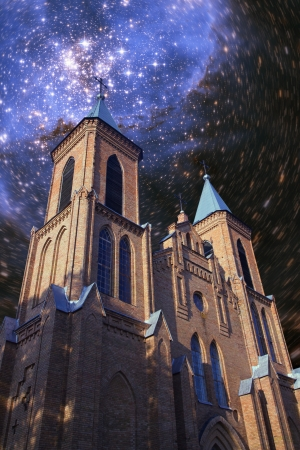 billions: stars and billions of galaxies shining in the night over the old church