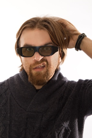 three dimensions: red bearded watching TV in 3D Stock Photo