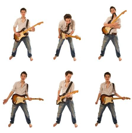 hand jamming: funny guy playing guitar and having fun Stock Photo